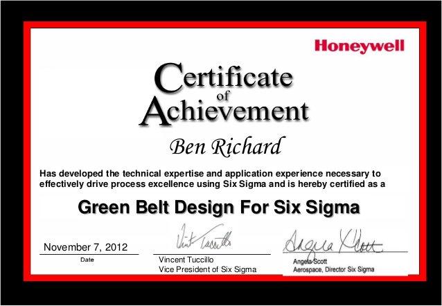 certificate of achievement green belt design for six sigma