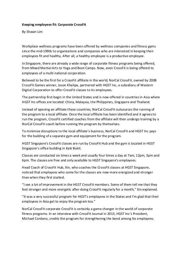 Keepingemployeesfit:CorporateCrossFit ByShawnLim  Workplacewellnessprogramshavebeenofferedbywellnesscompa...