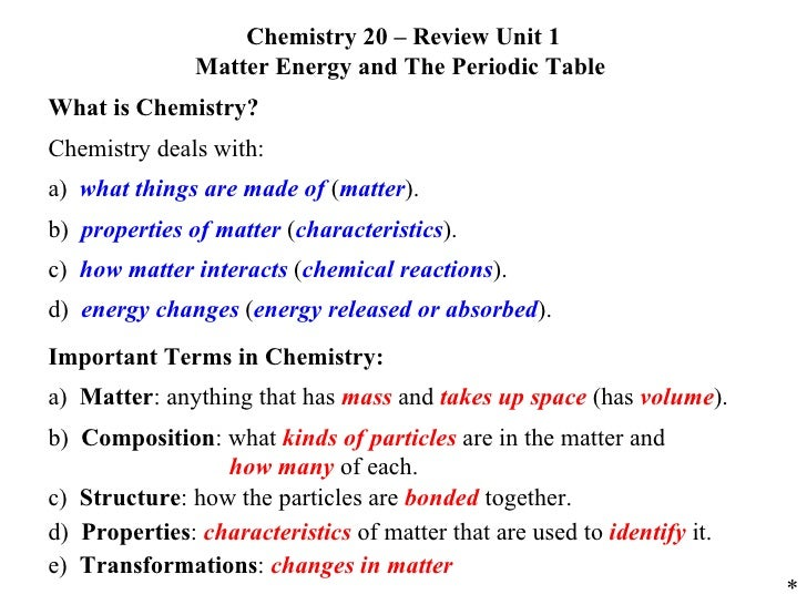 C20 review unit 01 matter energy and the periodic table chemistry 20 review unit 1 matter energy and the periodic table what is chemistry urtaz Images