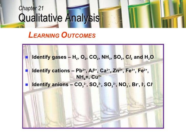 <ul><li>Identify gases – H 2 , O 2 , CO 2 , NH 3 , SO 2 , C l 2  and H 2 O </li></ul><ul><li>Identify cations – Pb 2+ , A ...