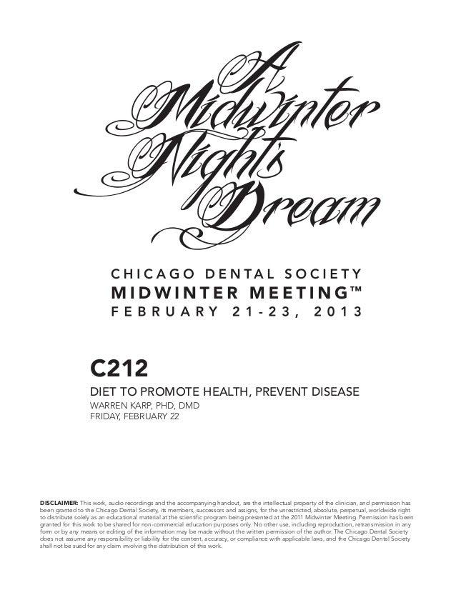 C212                  DIET TO PROMOTE HEALTH, PREVENT DISEASE                  WARREN KARP, PHD, DMD                  FRID...