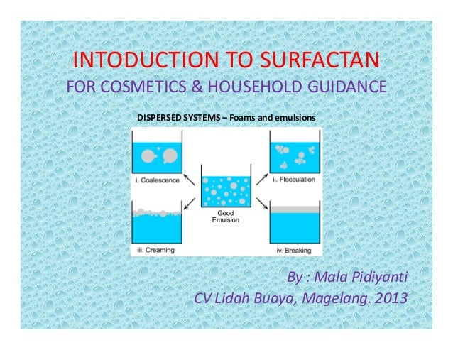 INTODUCTION TO SURFACTAN FOR COSMETICS & HOUSEHOLD GUIDANCE DISPERSED SYSTEMS – Foams and emulsions By : Mala Pidiyanti CV...