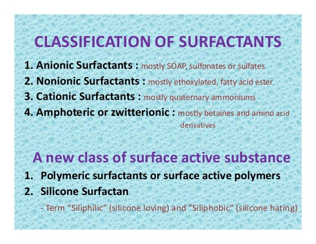 Nonionic surfactant examples.