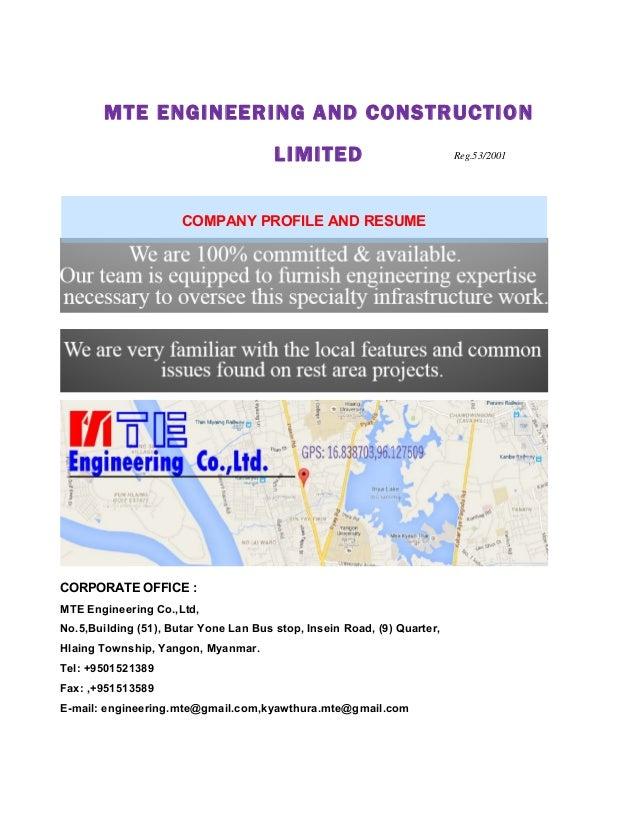 MTE ENGINEERING AND CONSTRUCTION LIMITED CORPORATE OFFICE Engineering CoLtd No CCCOOORRRPPPOOORRRAAATTTEEE PPPRRROOOFFFIIILLLEEE