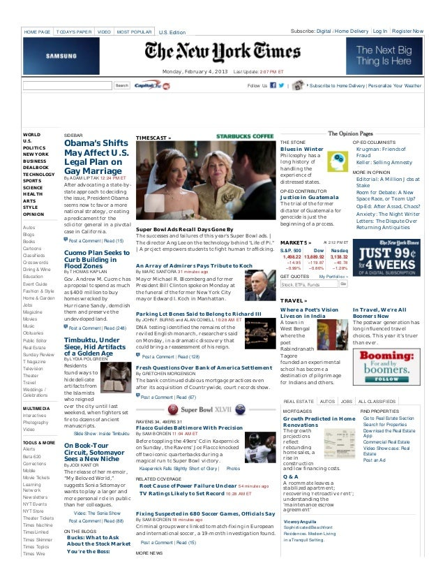 HOME PAGE         TODAYS PAPER    VIDEO     MOST POPULAR         U.S. Edition                                             ...