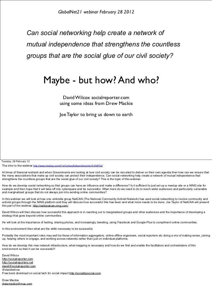GlobalNet21 webinar February 28 2012                    Can social networking help create a network of                    ...