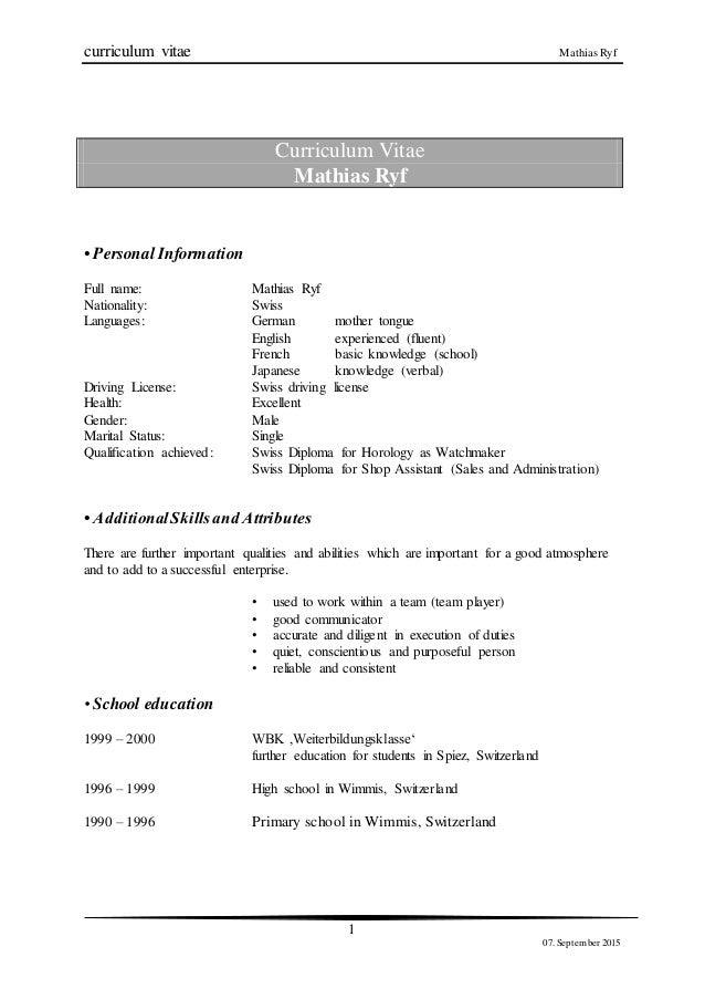 bewerbung linked in version curriculum vitae mathias ryf 1 07 september 2015 curriculum vitae mathias ryf personal information - Bewerbung 2015