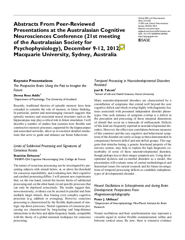 Abstracts From Peer-Reviewed Presentations at the Australasian Cognitive Neurosciences Conference (21st meeting of the Aus...