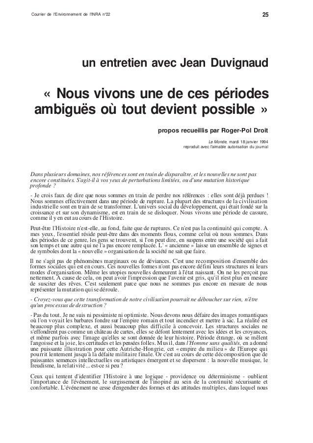 Courrier de l'Environnement de l'INRA n°22 25 un entretien avec Jean Duvignaud « Nous vivons une de ces périodes ambiguës ...