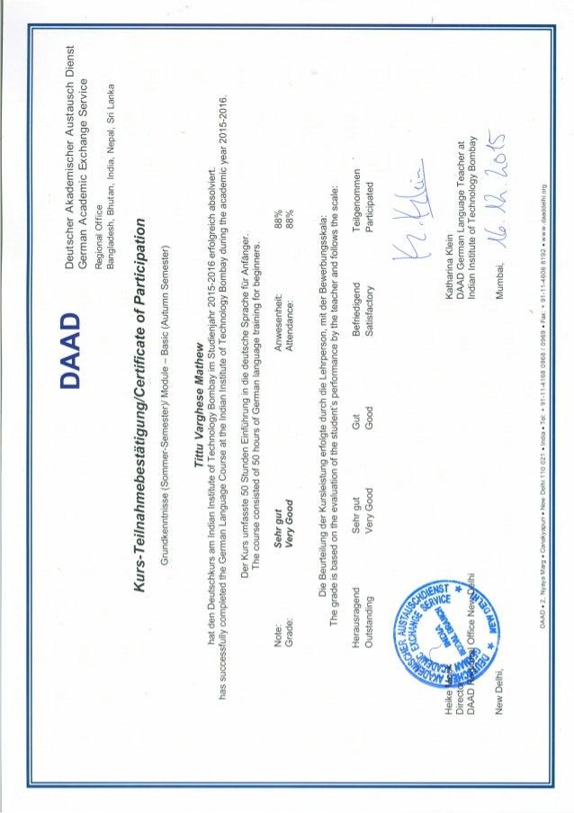DAAD German A1 1 certificate PDF