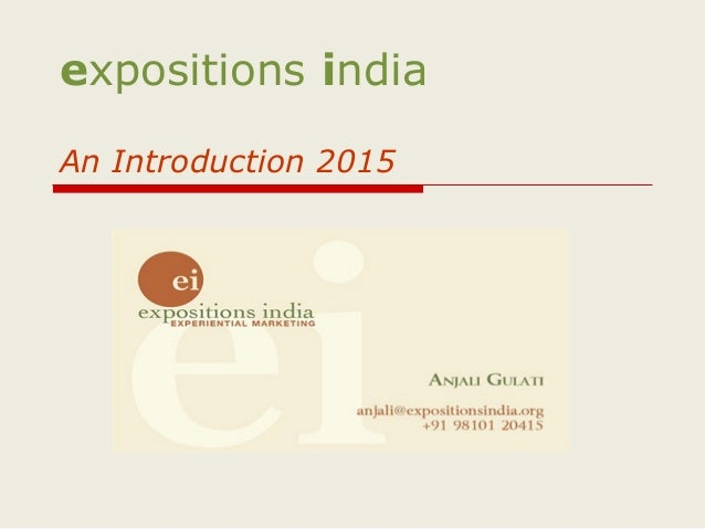 expositions india An Introduction 2015