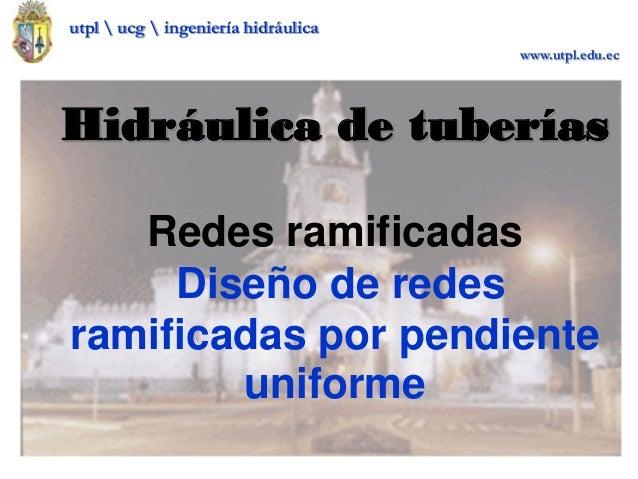 utpl  ucg  ingeniería hidráulica www.utpl.edu.ec Hidráulica de tuberías Redes ramificadas Diseño de redes ramificadas por ...