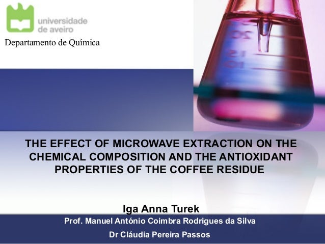 THE EFFECT OF MICROWAVE EXTRACTION ON THE CHEMICAL COMPOSITION AND THE ANTIOXIDANT PROPERTIES OF THE COFFEE RESIDUE Iga An...