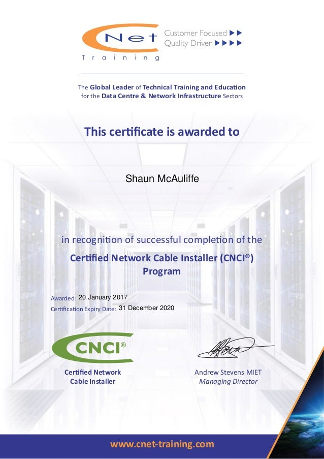 Shaun McAuliffe cnci certificate