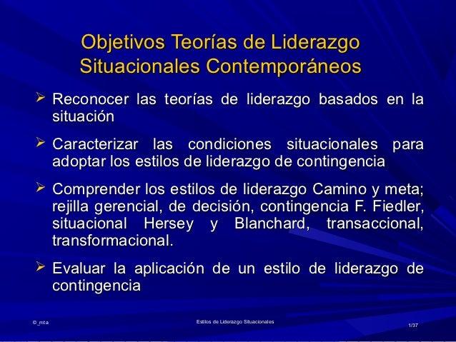 Objetivos Teorías de Liderazgo            Situacionales Contemporáneos Reconocer las teorías de liderazgo basados en la  ...