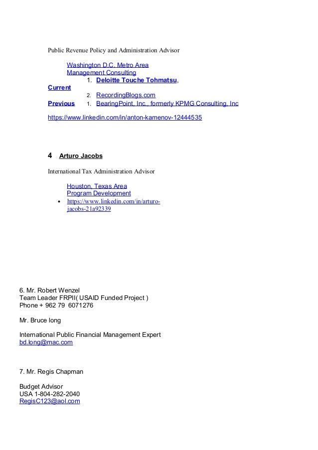 Public Revenue Policy and Administration Advisor Washington D.C. Metro Area Management Consulting Current 1. Deloitte Touc...