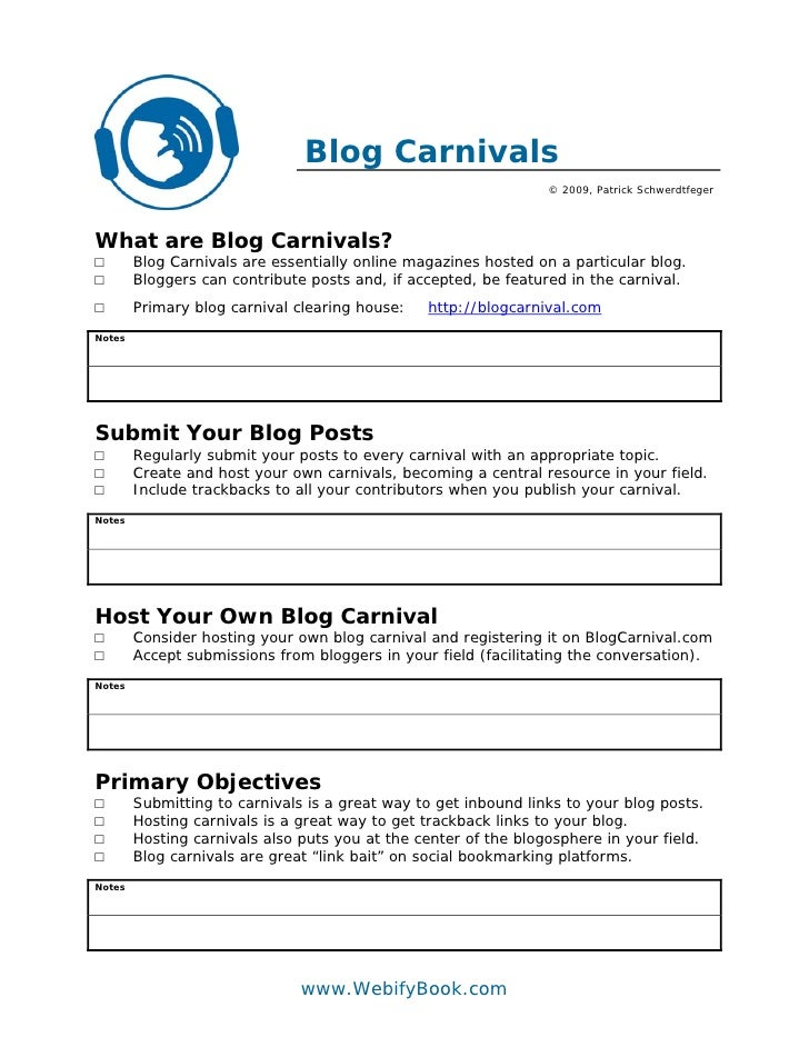 Blog Carnivals                                                                  © 2009, Patrick Schwerdtfeger     What are...