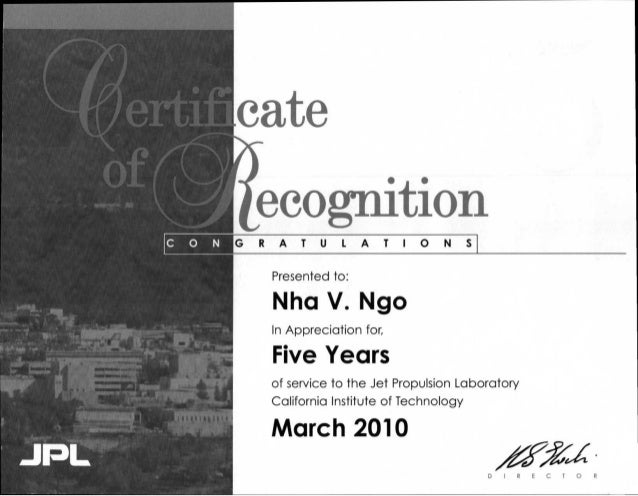 CERTIFICATE OF RECOGNITION ( JPL )