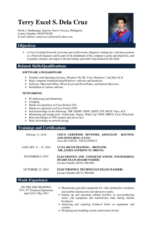sample resume of ccna certified