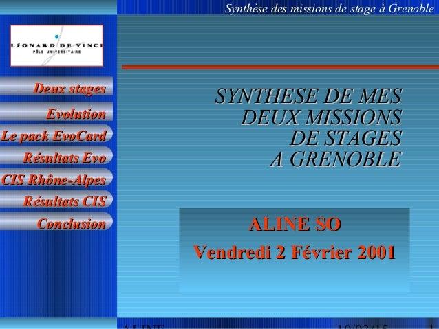 Synthèse des missions de stage à Grenoble Le pack EvoCardLe pack EvoCard Résultats EvoRésultats Evo CIS Rhône-AlpesCIS Rhô...