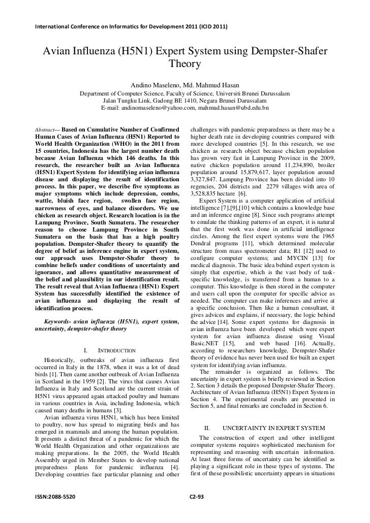 International Conference on Informatics for Development 2011 (ICID 2011)  Avian Influenza (H5N1) Expert System using Demps...