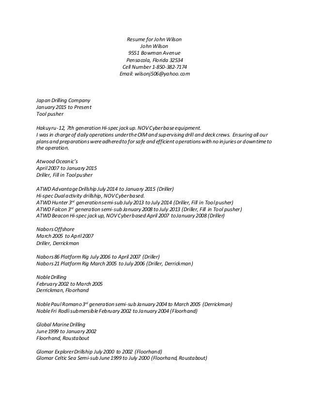 resume for john wilson 2015