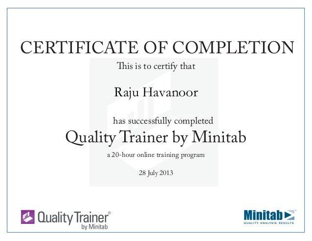 Minitab Certificate