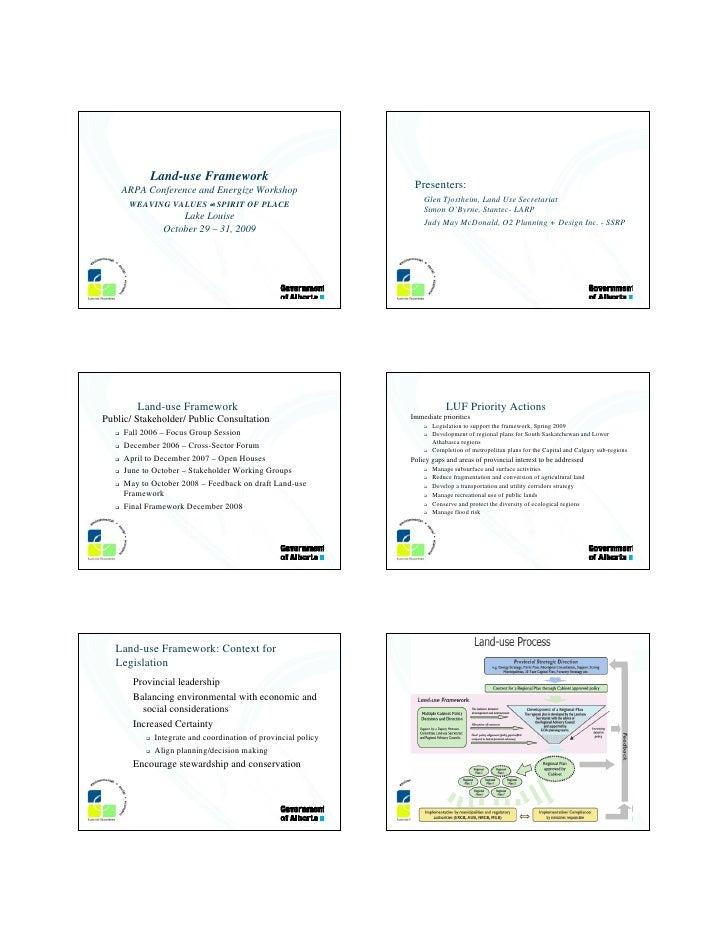 Land-use Framework     ARPA Conference and Energize Workshop                       Presenters:                            ...