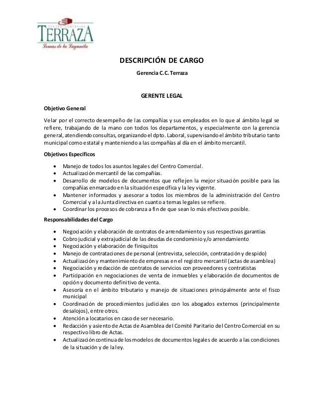 Descripción De Cargo Gerente Legal