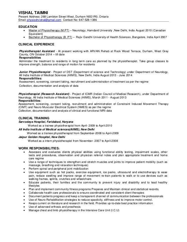 resume of physiotherapist