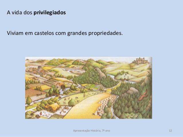 A vida dos privilegiados Viviam em castelos com grandes propriedades.  Apresentação História, 7º ano  12