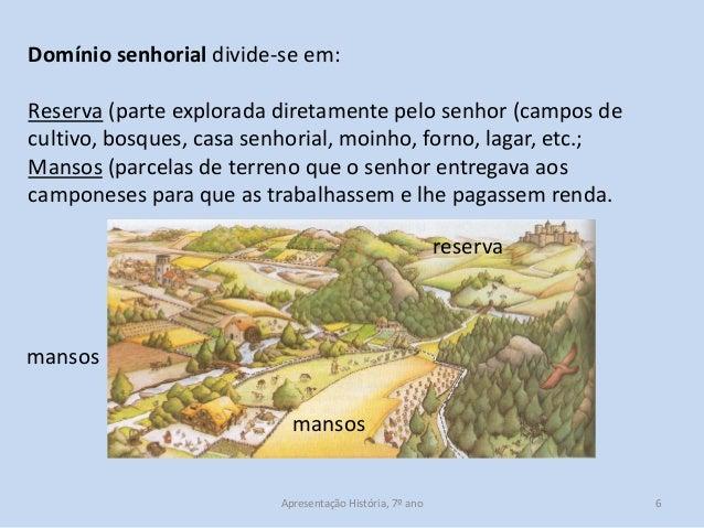 Domínio senhorial divide-se em: Reserva (parte explorada diretamente pelo senhor (campos de cultivo, bosques, casa senhori...