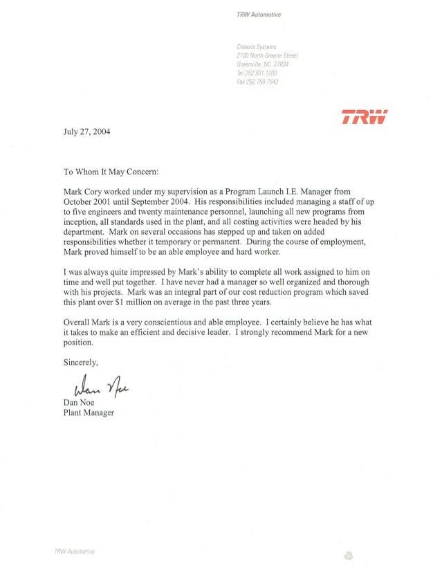 Letter From Plant Manager Dan Noe