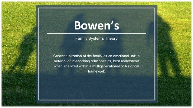 bowen family systems Bowen's family systems theory is centrally focused on families as an emotional unit within the context of nature bowen systems theory serves as a guide for family.
