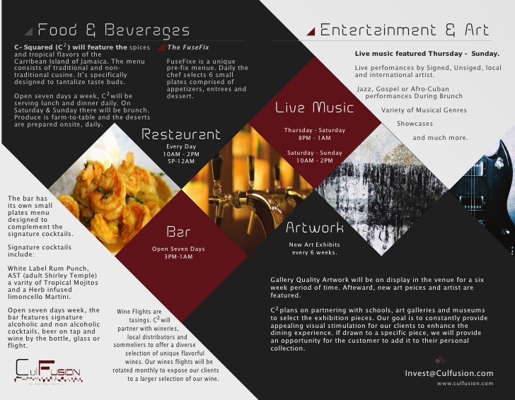 C Restaurant  Music Venue Brochure