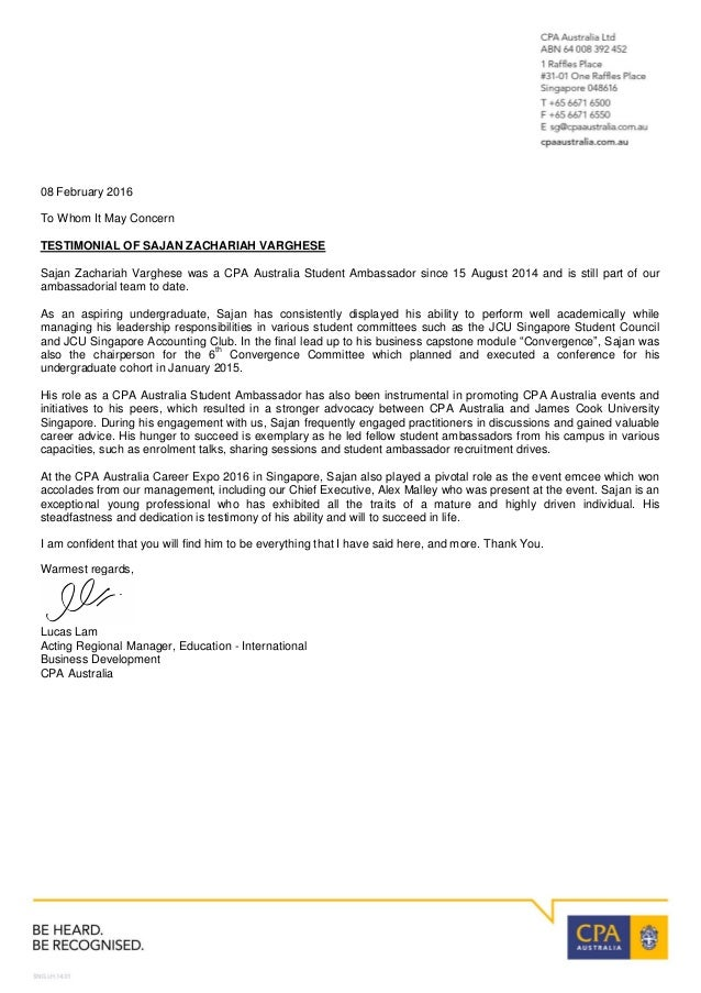 reference letter from lucas lam cpa australia 08 february 2016 to whom it may concern testimonial of sajan zachariah varghese sajan zachariah varghese