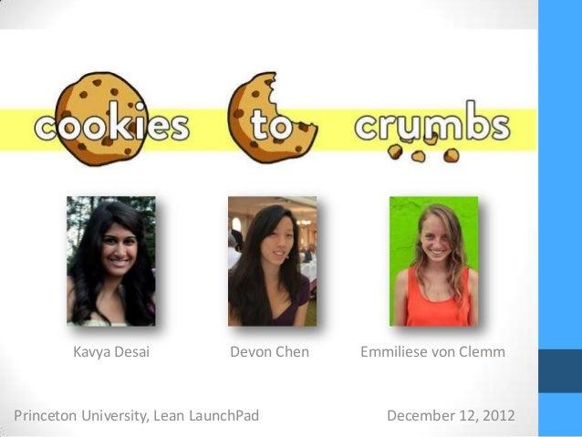Kavya Desai            Devon Chen   Emmiliese von ClemmPrinceton University, Lean LaunchPad           December 12, 2012