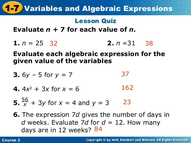 how to solve expressions with variables