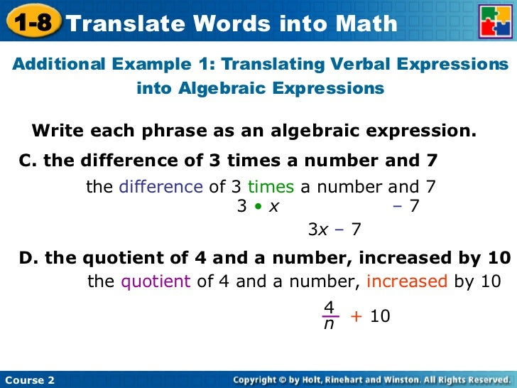 Translating Verbal Expressions Into Algebraic Expressions ...