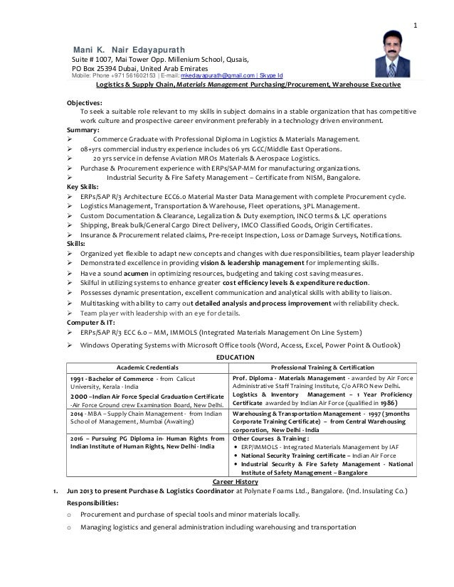 sample resume for supply chain management