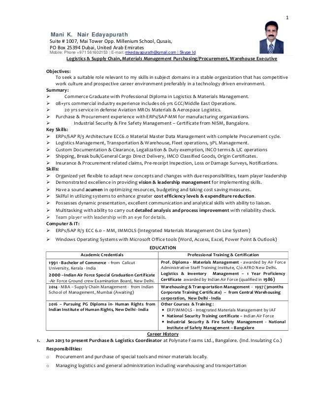 resume for logistics manager