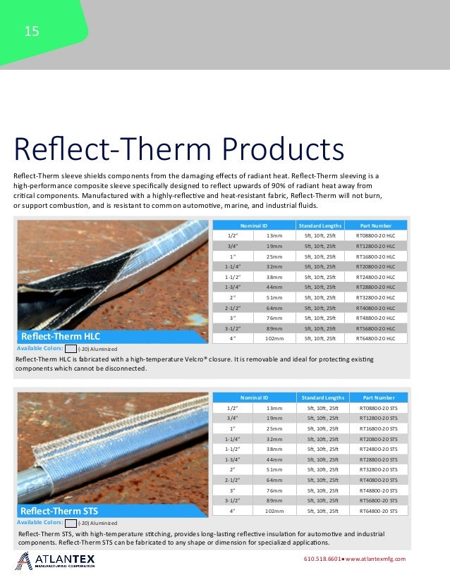 1 3//4 x 5 1 3//4 x 5/' ATLANTEX RT28800-20-5 HLC Reflect-Therm HLC Velcro Reflective Sleeving
