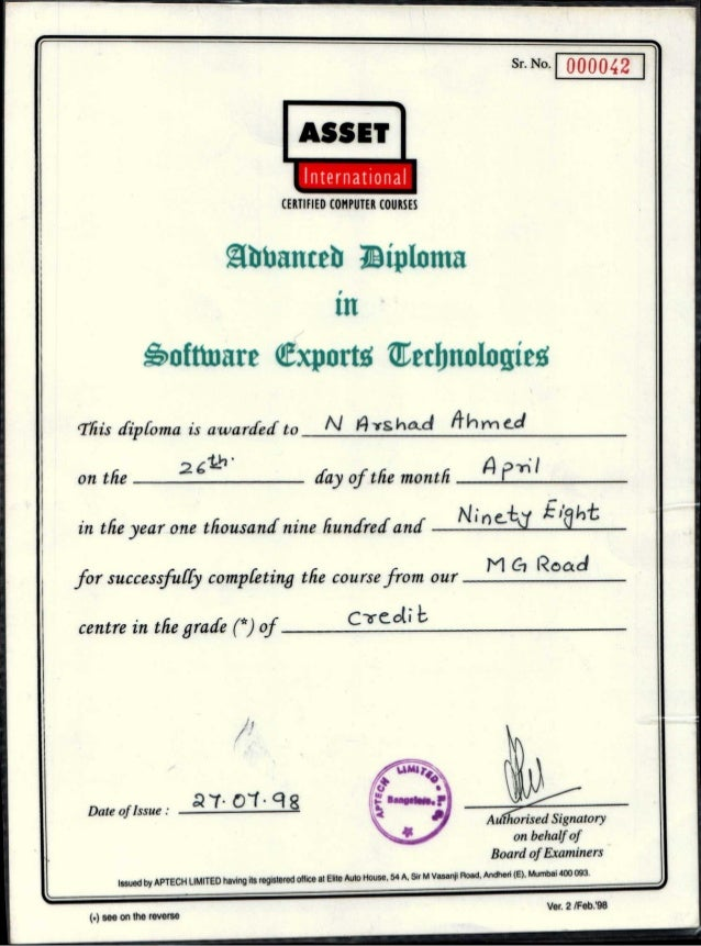 Sr. No. 000042 Authorised Signatory on behalf of Board of Examiners I. .Date of Issue : 01 ct g ASSET International CERTIF...