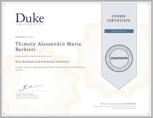 coursera statistics slideshare certificate upcoming