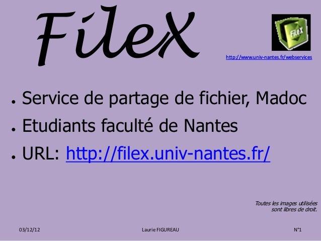 FileX                          http://www.univ-nantes.fr/webservices●    Service de partage de fichier, Madoc●    Etudiant...