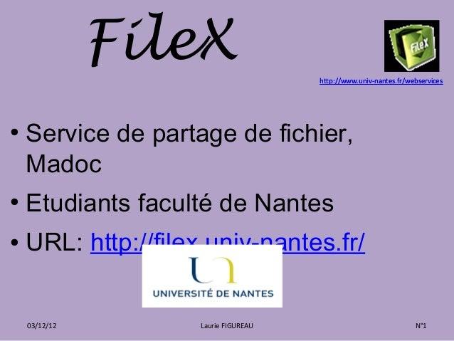FileX                   http://www.univ-nantes.fr/webservices●    Service de partage de fichier,    Madoc●    Etudiants fa...