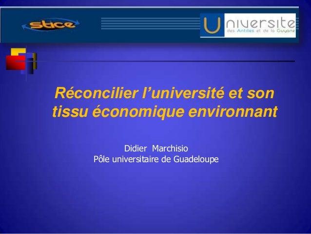 Réconcilier l'université et sontissu économique environnantDidier MarchisioPôle universitaire de Guadeloupe