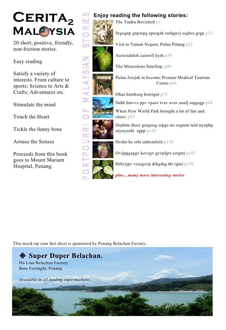 Cerita 2   Mal  ysia The Tunku Revisited  p1 Srgognp gnpwpg opurgsh rsohgnvj seghse grgp  p12 Visit to Taman Negara, Pulau...