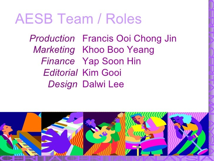 AESB Team / Roles Francis Ooi Chong Jin  Khoo Boo Yeang Yap Soon Hin Kim Gooi Dalwi Lee Production  Marketing  Finance  Ed...