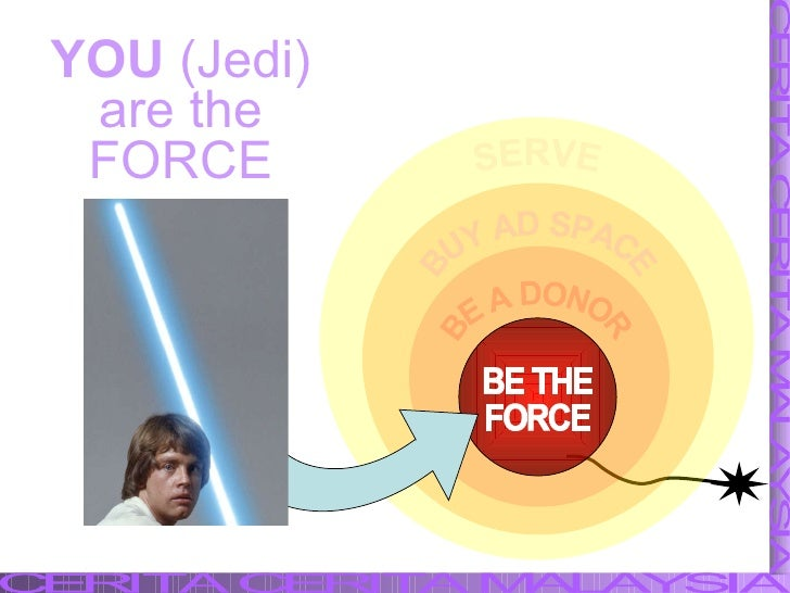 SERVE BE A DONOR BUY AD SPACE BE THE FORCE YOU  (Jedi) are the FORCE